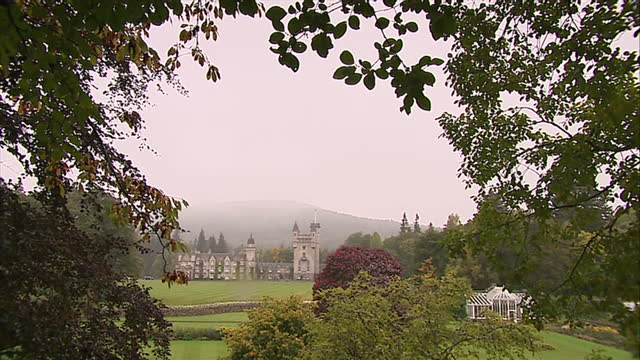 shows exterior shots royal residence balmoral castle in the highlands on a gloomy rainy day on 21st september 2017 in balmoral near inverness scotland - scottish highlands stock videos & royalty-free footage