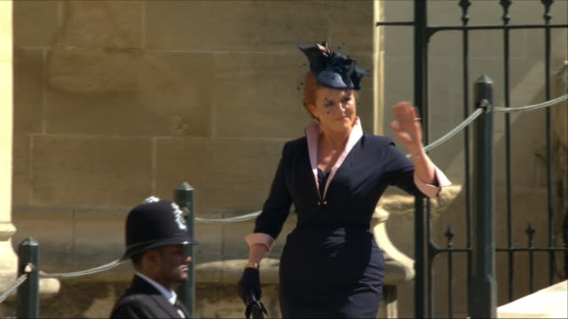 Shows exterior shots Sarah Duchess of York arriving at St George's Chapel for the wedding of Prince Harry Duke of Sussex and Meghan Markle on the...