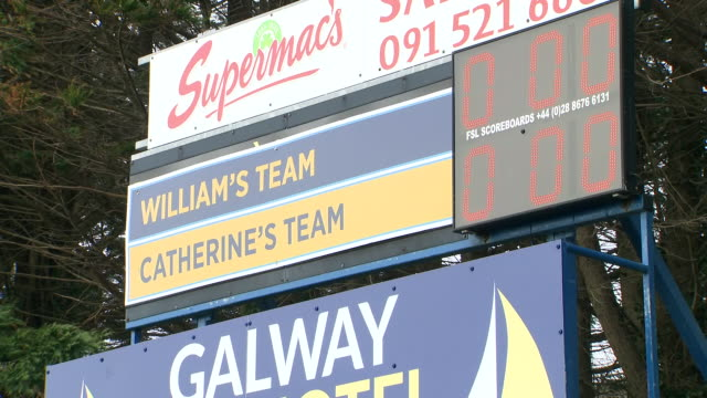shows exterior shots score boards showing william's team and catherine's team scores after prince william and kate's visit to salthill gaelic... - western european culture stock videos & royalty-free footage