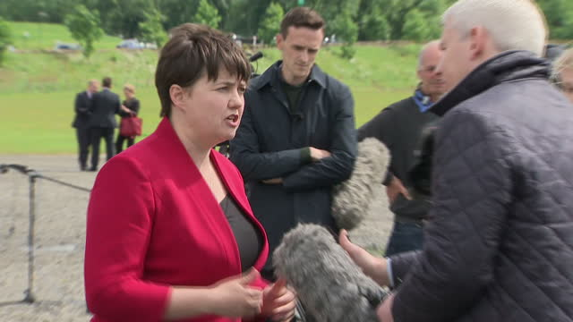 Shows exterior shots Scottish Conservative Leader Ruth Davidson speaking to press at photocall for 13 new Scottish Conservative MPs Ruth Davidson has...