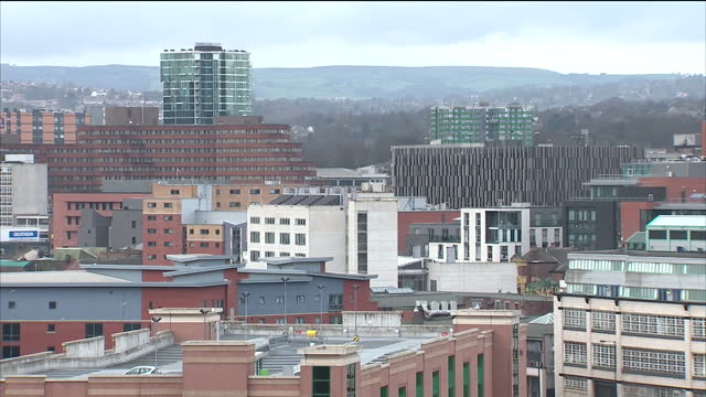 shows exterior shots sheffield city skyline timelapse at the start on january 13 2015 in sheffield england - sheffield video stock e b–roll