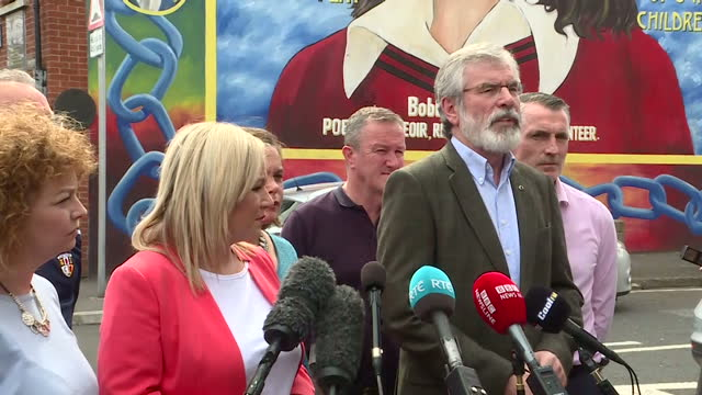 Shows exterior shots Sinn Fein President Gerry Adams at press conference speaking on deal between DUP and Tories to Govern and referendum on Irish...