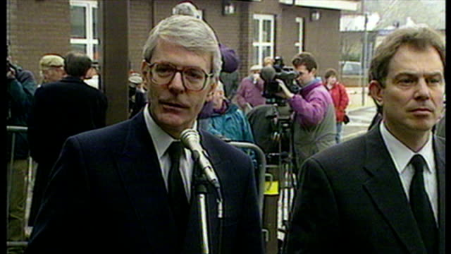 shows exterior shots speech british prime minister john major and labour leader tony blair speech on dunblane shootings and thanks for work of staff... - dunblane school massacre stock videos & royalty-free footage