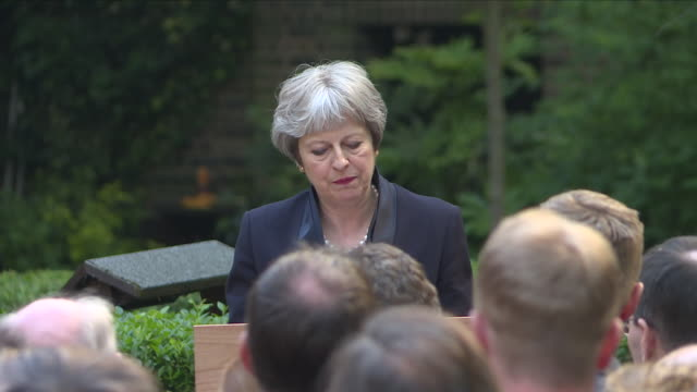 shows exterior shots speech soundbite uk prime minister theresa may speaking on centenary of the raf and role they've played in recent years a red... - prime minister of the united kingdom stock videos & royalty-free footage