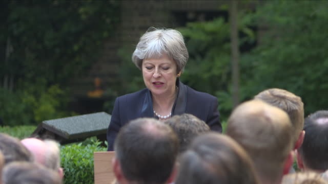 shows exterior shots speech soundbite uk prime minister theresa may speaking on centenary of the raf and it's contribution to the uk a red arrows... - prime minister of the united kingdom stock videos & royalty-free footage
