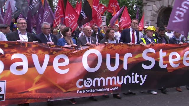 stockvideo's en b-roll-footage met shows exterior shots steelworkers and supporters marching through london including labour leader jeremy corbyn and trade unionists. david cameron has... - david steel politiek