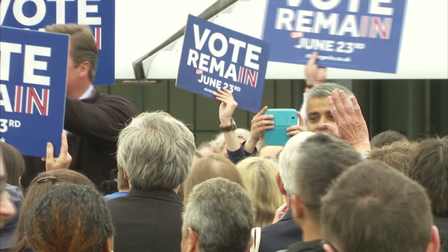 shows exterior shots stronger in europe battle bus arriving in roehampton university london exterior shots uk prime minister and conservative mp... - 2016 european union referendum stock videos and b-roll footage