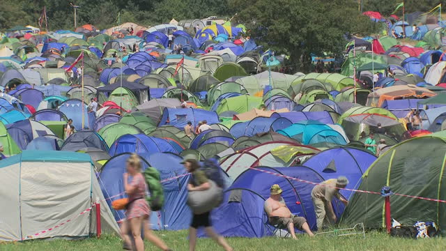 Shows exterior shots tents set up at camp site of Glastonbury Festival on 22nd June 2017 in Glastonbury Somerset England