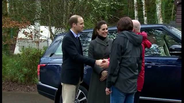 Shows exterior shots the Duke Duchess of Cambridge arrive in car greeted by employees at the Towers Residential Outdoor Education Centre on November...