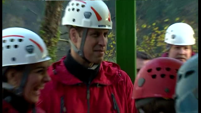 shows exterior shots the duke & duchess of cambridge being led by instructor on climbing safety. on november 20, 2015 in capel curig, snowdonia,... - peerage title stock videos & royalty-free footage