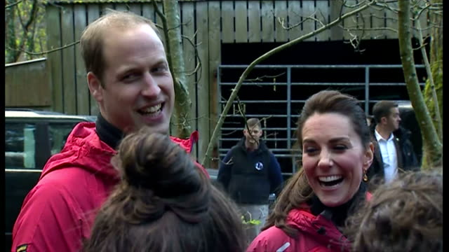 Shows exterior shots the Duke Duchess of Cambridge joke with schoolchildren at the Towers Residential Outdoor Education Centre on November 20 2015 in...