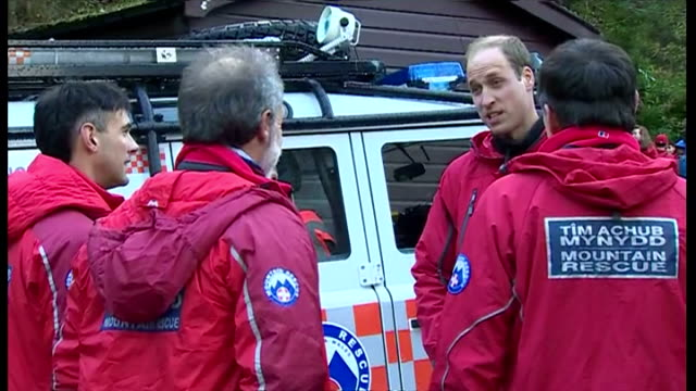 shows exterior shots the duke duchess of cambridge photo opportunity with mountain rescue team shake hands with employees on november 20 2015 in... - herzog von cambridge stock-videos und b-roll-filmmaterial