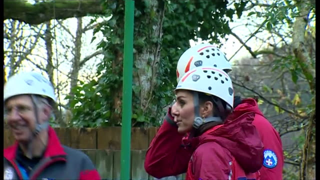 shows exterior shots the duke & duchess of cambridge shaking hands with instructors & watching girl on zip line go over a pond. on november 20, 2015... - peerage title stock videos & royalty-free footage