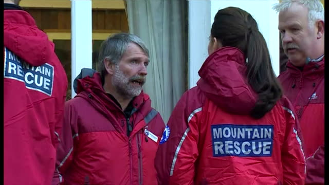 shows exterior shots the duke & duchess wearing mountain rescue clothing & talking with employees at outdoor education centre. on november 20, 2015... - peerage title stock videos & royalty-free footage
