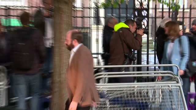Shows exterior shots Theresa May's aides Nick Timothy and Fiona Hill leaving Conservative Party Headquarters Britain has a hung parliament after a...