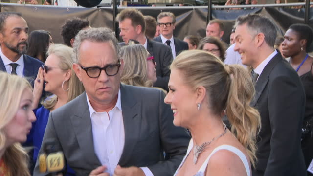 Shows exterior shots Tom Hanks and Rita Wilson at the 'blue' carpet British Premiere of the film sequel Mamma Mia Here We Go Again on 16th July 2018...