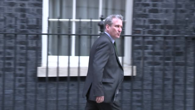 Shows exterior shots UK Education Secretary Damian Hinds MP arriving at Downing Street for knife crime summit Theresa May hosted a summit in Downing...