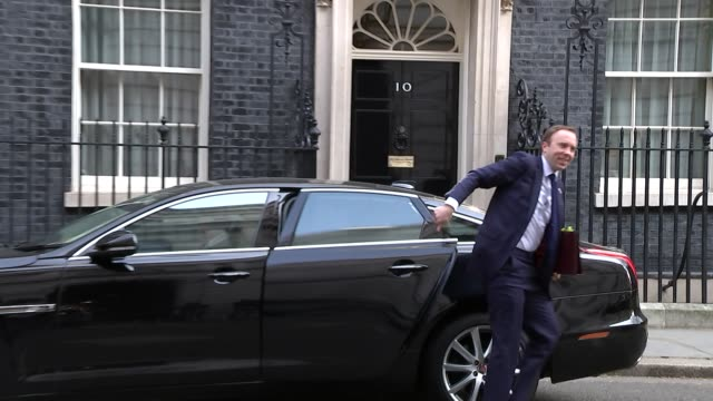 Shows exterior shots UK Health Secretary Matt Hancock arriving at Downing Street for knife crime summit Theresa May hosted a summit in Downing Street...
