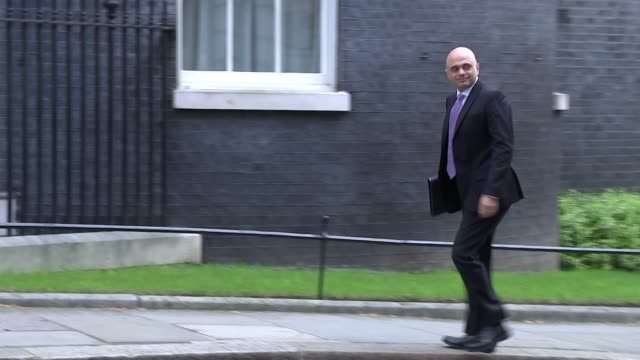 Shows exterior shots UK Home Secretary Sajid Javid MP arriving at Downing Street for knife crime summit Theresa May hosted a summit in Downing Street...