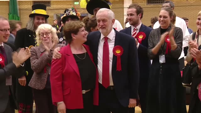 Shows exterior shots UK Labour Party Leader Jeremy Corbyn leaving home and arriving at constituency vote count and departing after result...
