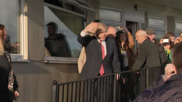 shows exterior shots uk prime minister boris johnson departing after giving speech to supporters in sedgefield boris johnson has promised to repay... - prime minister of the united kingdom stock videos & royalty-free footage