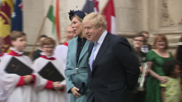 shows exterior shots uk prime minister boris johnson mp and his girlfriend carrie symonds leaving westminster abbey following the commonwealth day... - prime minister of the united kingdom stock videos & royalty-free footage