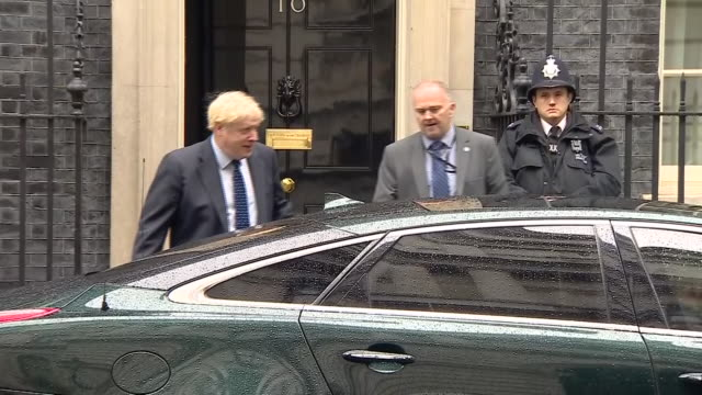 shows exterior shots uk prime minister boris johnson's leaving downing street on way to houses of parliament for the state opening of parliament uk's... - prime minister of the united kingdom stock videos & royalty-free footage