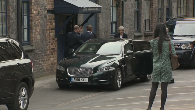 shows exterior shots uk prime minister theresa may leaving goodalls vj ltd getting in car and motorcade driving away ukip's leader has said that... - motorcade stock videos & royalty-free footage