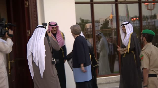 Shows exterior shots UK Prime Minister Theresa May walking with senior Kuwaiti officials and greeting Crown Prince Nawaf AlAhmad AlJaber AlSabah...