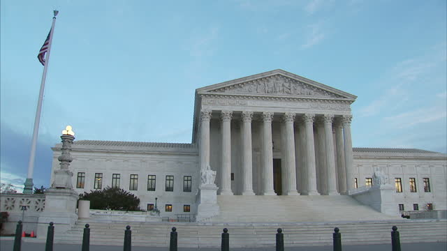 shows exterior shots united states supreme court building including wide shots statues and carved motto on february 01 2017 in washington dc - oberstes bundesgericht der usa stock-videos und b-roll-filmmaterial