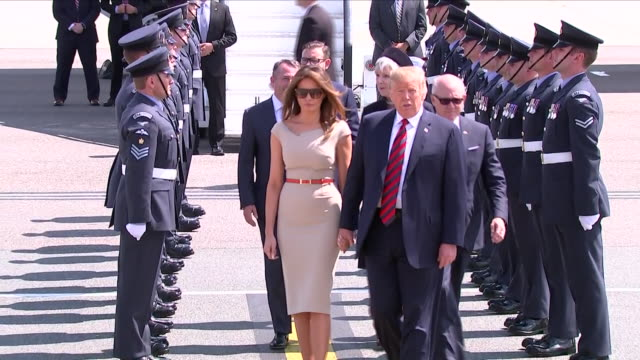 shows exterior shots us president donald trump and his wife melania walking from air force one to marine one helicopter at at stansted airport us... - melania trump stock videos & royalty-free footage