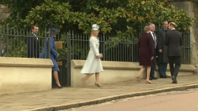 shows exterior shots various members of the british royal family leaving st george's chapel in windsor castle after the easter service including... - st. george's chapel stock videos and b-roll footage
