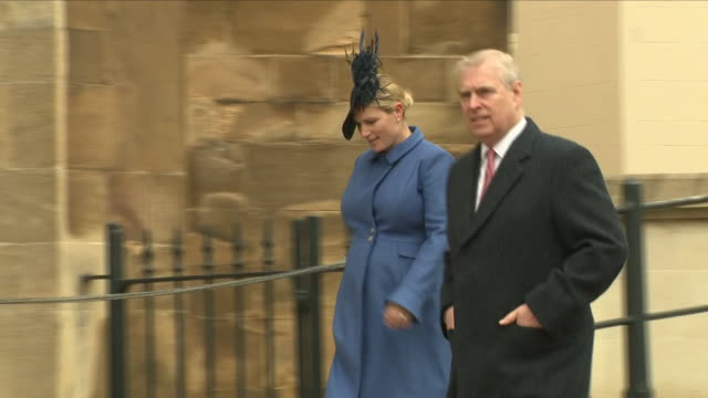 shows exterior shots various members of the british royal family arriving outside st george's chapel in windsor castle and talking together before... - st. george's chapel stock videos and b-roll footage