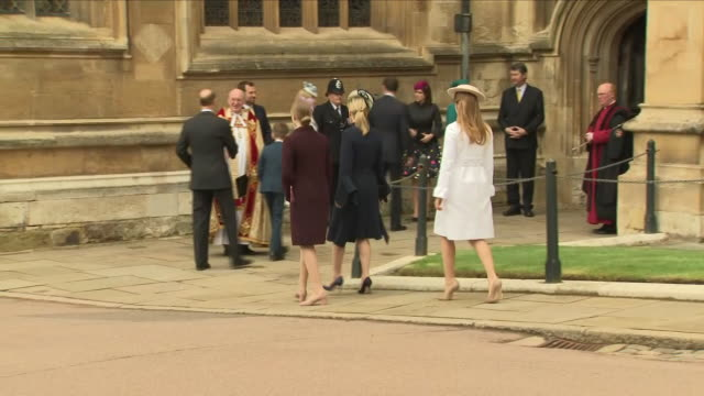 shows exterior shots various members of the british royal family arriving outside st george's chapel in windsor castle for the easter service... - st. george's chapel stock videos and b-roll footage