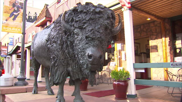shows exterior shots welcome sign in downtown golden american bison statue on october 03 2012 in colorado co - california gold rush stock videos and b-roll footage