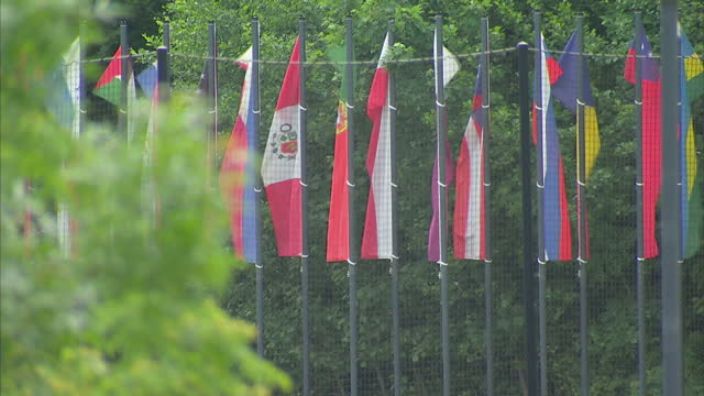 shows exterior shots world flags surrounding training pitches on the grounds of the fifa headquarters in zurich. fifa flag flying among them. on may... - fifa stock videos & royalty-free footage