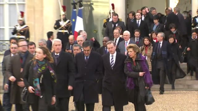 shows exterior shots world leaders officials walking from elysee palace for unity march on january 11 2015 in paris france - terrorism stock videos & royalty-free footage