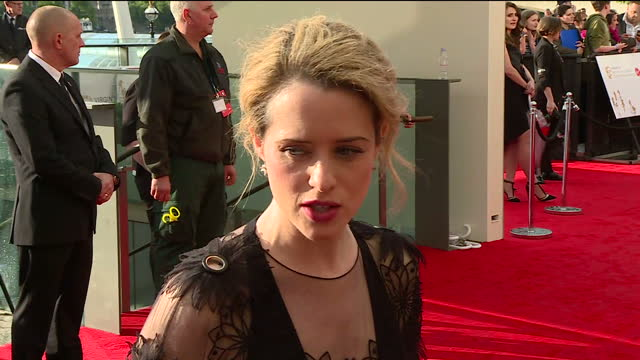 shows exterior shtos interview with actress claire foy speaking on netflix series 'the crown' the best of television is honoured at the virgin tv... - television awards stock videos & royalty-free footage