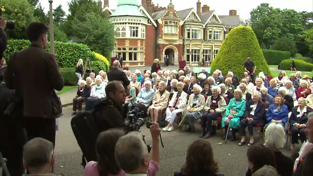 shows exterior shtos world war ii veterans former code breakers gathering for reunion at blethcley park in buckinghamshire england exterior and... - enigma machine stock videos & royalty-free footage