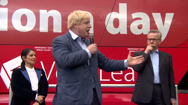 shows exterior speech soundbite with conservative mp and 'out' campaigner boris johnson on eu referendum and taking back control from eu on june 01... - boris johnson stock videos and b-roll footage