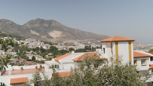 shows exterior white holiday villas, city skyline and empty swimming pool in torremolinos in the costa del sol. uk fco has updated travel advice... - non urban scene stock-videos und b-roll-filmmaterial