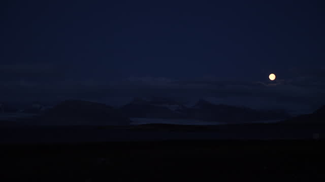 shows exterior wide shot at night moon shining brightly above glacier in ny alesund on spitsbergen in svalbard. the un's intergovernmental panel on... - dramatic landscape stock videos & royalty-free footage