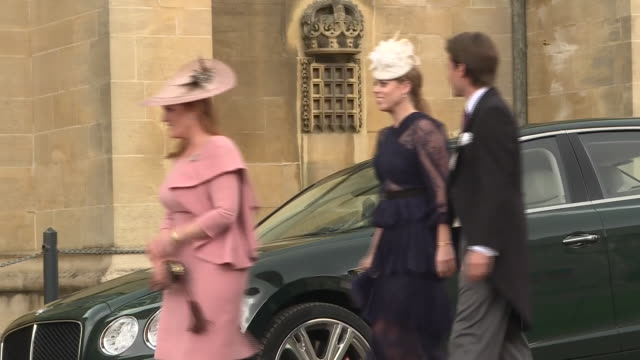 Shows guests including Sarah Ferguson Duchess of York as well as her daughter Princess Beatrice and Edoardo Mapelli Mozzi arriving ahead of the...