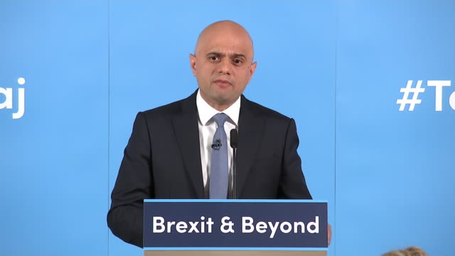 shows home secretary sajid javid speaking at his conservative party leadership campaign launch on june 12 2019 in london england - sajid javid stock videos & royalty-free footage