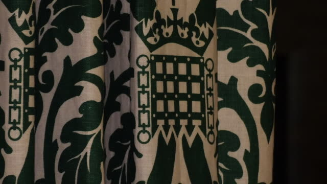 stockvideo's en b-roll-footage met shows interior aye lobby and corridor in the house of commons in london including benches books stationary signs and logos on 4th december 2018... - house of commons