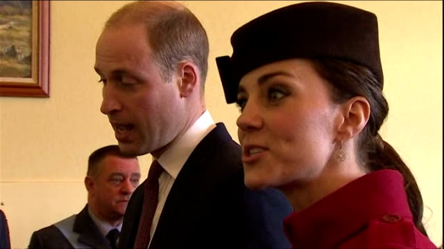 Shows interior Kate and Prince William arriving at reception and talking to various RAF personnel including comment about nostalgia at seeing their...