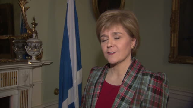 Shows interior shot interview with Nicola Sturgeon talking about the SNP's position in the build up to the general election the television debates on...