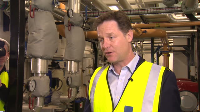 vídeos de stock, filmes e b-roll de shows interior shot nick clegg talking about gdp figures and reducing the deficit calls for people to get more lib dem mps into parliament on april... - produto interno bruto