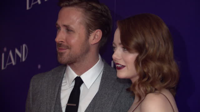 Shows interior shots actors Ryan Gosling and Emma Stone posing for photographs on the red carpet at the UK Premiere of La La Land on 12th January...