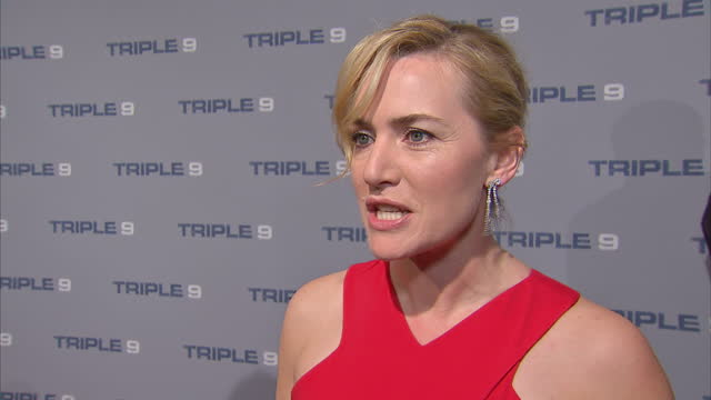 shows interior shots actress kate winslet on red carpet for film 'triple 9' and soundbite on roles for women in films as sequels go this month's... - kate winslet stock-videos und b-roll-filmmaterial
